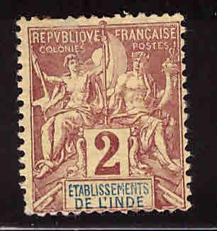 FRENCH INDIA  Scott 2 MH*1892 Thin, hinge remnat
