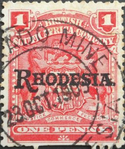 Rhodesia 1909 One Penny with ELDORADO MINE (DC) postmark