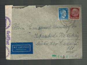 1941 Ratzeburg Germany to Istanbul Turkey Censored Sara Cover Emanuel Weinberg