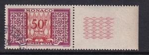 Monaco  #J38  1950  cancelled   postage due     50 fr
