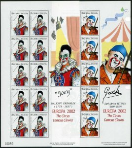 Gibraltar 901-904 sheets,MNH. EUROPE CEPT-2001.Circus:Famous clowns.