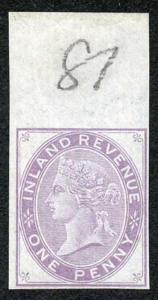 1d Lilac Postal Fiscal SGF20-22 Imprimatur Plate 81