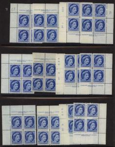 Canada 1954  5c QE Wilding Plates 1,2 & 3 Matched Sets - F-VF-NH