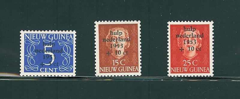 Netherlands (New Guinea), B1-3, Flood Relief Singles, MNH