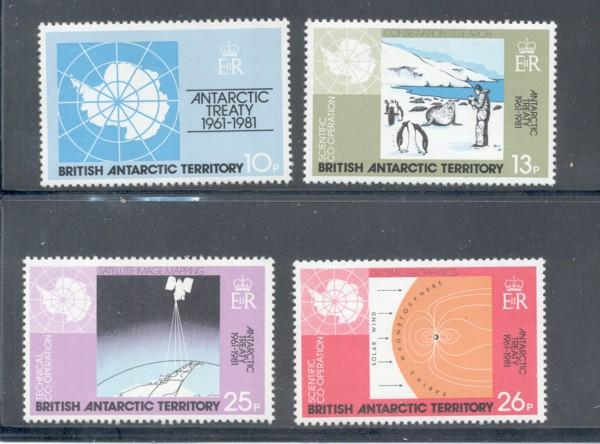 British Antarctic Territory Sc 82-5 Treaty stamps mint NH