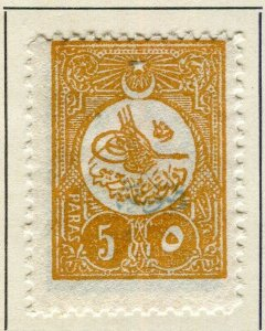 TURKEY; 1908 early Printed Matter Optd. issue Mint hinged 5pa. value