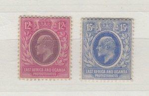 East Africa Uganda KEVII 1907 12c/15c SG38/39 MH JK294