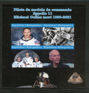 Madagascar 2021 MIchael Collins Memorial Apollo 11 impf  sheet mint never hinged