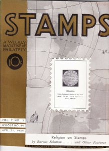 Stamps Weekly Magazine of Philately April 21, 1934 Stamp Collecting Magazine