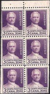 Canal Zone 117a Mint,OG,XLH... Booklet Pane... SCV $12.50... Miscut Error