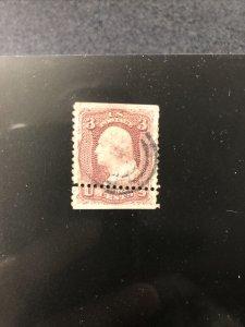 """Scott#65 US Stamp 3c USED George Washington 1861-62 - """" MISPERF """""""