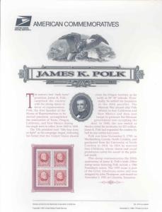 UNITED STATES JAMES K. POLK  COMMEMORATIVE PANEL MINT PRISTINE