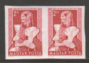 Hungary Sc 1068 var MNH. 1953 2ft carmine rose Örhalom Costume, imperf pair VF+