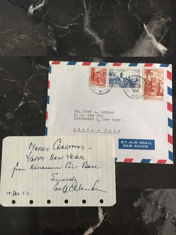 1952 CAsablanca Morocco Airmail COver to New York Usa Christmas Letter Enclosed