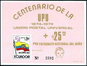 Ecuador C534,C534a,C534b,2 souv.sheets,MNH.Michel 1629,Bl.66-67. UPU-100.1974.
