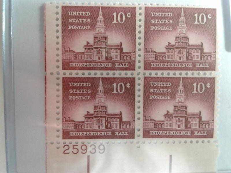 SCOTT # 1044 AMAZING INDEPENDENCE HALL PLATE BLOCK MINT NEVER HINGED GEM QUALITY