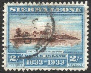 SIERRA LEONE-1933 Wilberforce 2/- Brown & Light Blue Sg 177 GOOD USED V42937