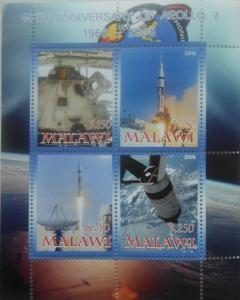 Malawi 2008 M/S Apollo Space Satellite Exploration Sciences Rocket Stamps perf
