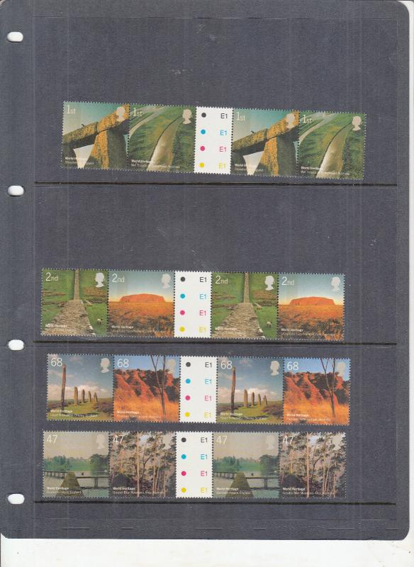 2005 WORLD HERITAGE SITES GUTTER PAIRS SG2532-SG2539 MNH BELOW FACE VALUE