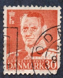 Denmark Scott #335 30o King Fredrick IX (1952) used