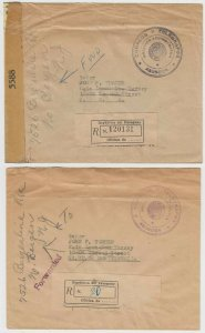 PARAGUAY 1944 CENSOR & UNCENSORED STAMPLESS OFFICIAL R-COVERS TO USA UNCOMMON!