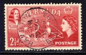 Bermuda 1953 - 62 QE2 2 1/2d Rose Red used SG 139 ( J1152 )