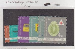 J25856  jlstamps 1961 hungary set mnh #1366-71 designs all checked
