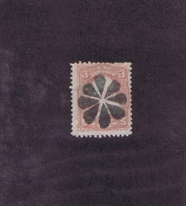 SCOTT# 85 USED, SEGMENTED 8 PETAL ROSETTE FANCY CANCEL, GRILL, 1868.
