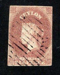 Ceylon #2, VF, Used, Wmk. 6, CV $575.00 ....  1290002