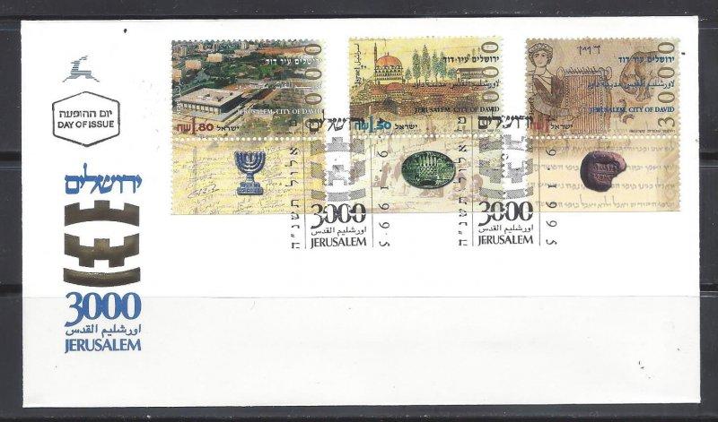Israel FDC 1245-7 W/Tabs Jerusalem 1995