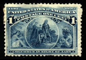 US Scott 230 columbian issue Hinged Disturbed Gum THIN