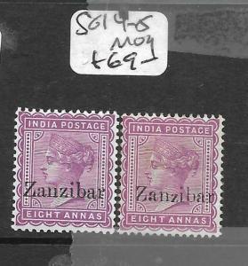 ZANZIBAR  (PP1009B) QV ON INDIA 8A  SG 14-15  MOG