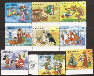 Anguilla 1984 Disney Characters Christmas Around the World Stamp Set #596-604