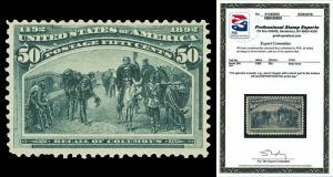 Scott 240 1893 50c Columbian Issue Mint F-VF OG NH Cat $1,250 w/ PSE CERTIFICATE