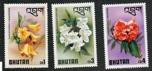 Bhutan; Scott 203, 205, 206; 1976;  Unused; NH