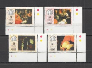 W1334 VANUATU ART CHRISTMAS 1993 LOUVRE #939-2 MICHEL 7 EURO !!! CORNER SET MNH