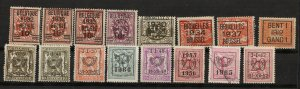 Belgium Precancel Assortment - 16 Stamps