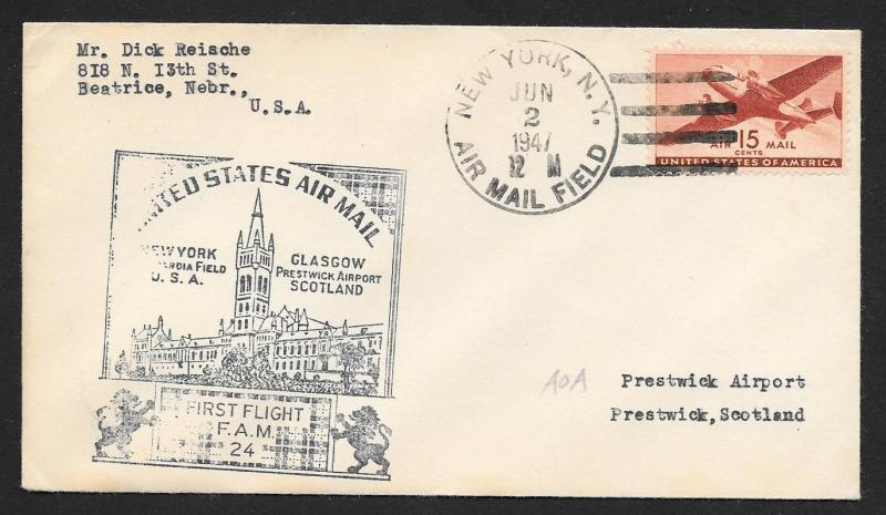 UNITED STATES First Flight Cover 1947 New York to Glasgow