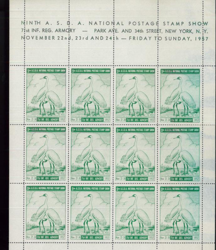 NEW YORK 9th ASDA National Postage Stamp Show - 1957 LABELS Fullsheets!  BBB