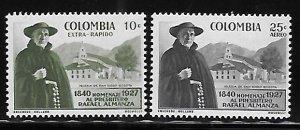 Colombia 1958 Father Rafael Almanza and church Sc C313-C314 MNH A2033