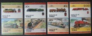 Nukulaelae-Tuvalu 1984 locomotives trains railways transport 8v MNH #2