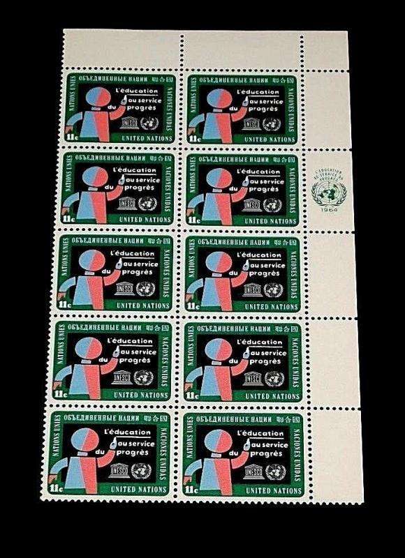 U.N. 1964, NEW YORK #136, EDUCATION ISSUE, MNH, INSC. BLK/10, NICE! LQQK!