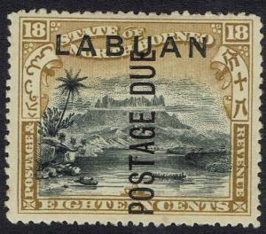 LABUAN 1901 POSTAGE DUE 18C MOUNT KINABALU