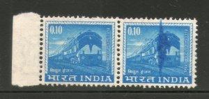 India 10p Locomotive ERROR Colour Flaw Pair MNH # 3742B