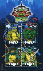 Palau 2009 MNH Teenage Mutant Ninja Turtles 25th Ann 4v M/S TNMT Cartoons Stamps