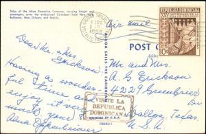 1958 DOMINICA REPUBLIC SINGLE ON POSTCARD TO UNITED STATES