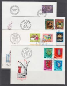 Switzerland Sc B479/B676 FDC Collection, 56 diff, all combos, 1981-2003 issues