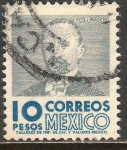 MEXICO 930, $10Pesos 1950 Def 2th Issue WMK 300 USED. F-VF. (1422)