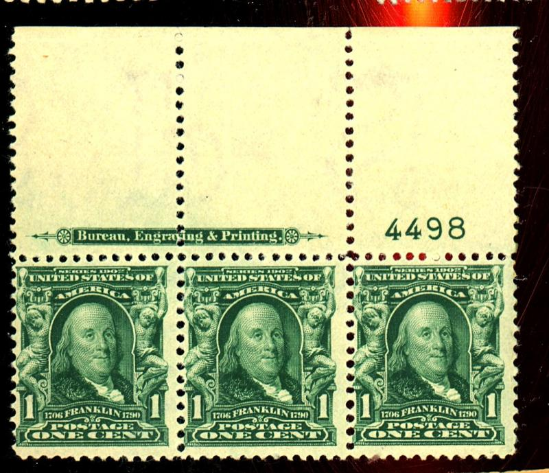 300 MINT Plate Strip of 3 F-VF OG NH Cat$90