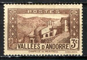 French Andorra 1932: Sc. # 25; */MH Single Stamp